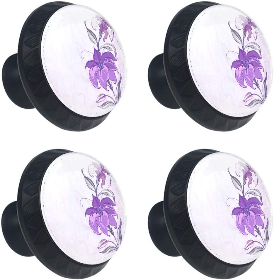 Shiiny Blooming trend rank Lilies Drawer Knob Pull Pu Handle New arrival Cabinet