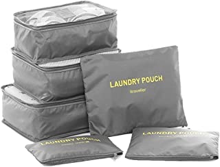 Packing Cubes,Travel Luggage Organizer-3 Travel Cubes + 3 Pouches (Grey)