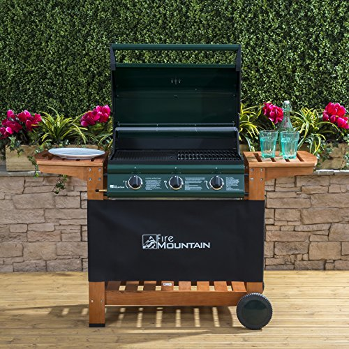 Elbrus 3 Burner Gas Barbecue - Green Steel with Wood
