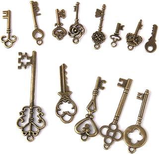 comprar comparacion 13pcs Antiguos Clave De Bronce Colgantes Hallazgos Collar Pendiente Del Encanto