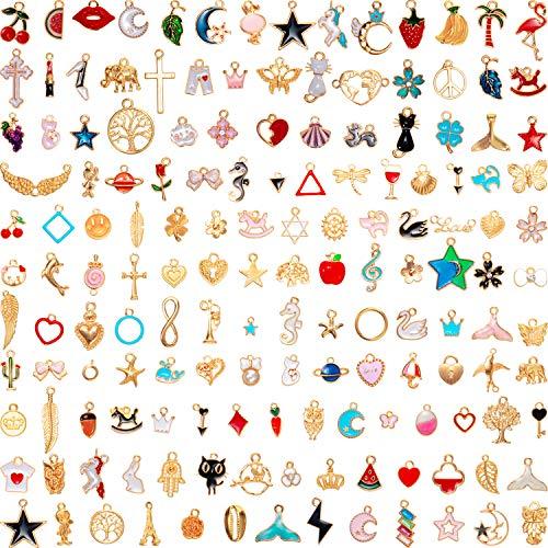 150 Stücke Sortierte Emaille Charm Anhänger Tier Stern Frucht Mond Anhänger Halskette Armband Charms für DIY Schmuck Basteln Herstellung (Netter Stil)