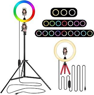 Dimbar 10 tum RGB LED Selfie ringlampa med stativstativ och telefonhållare, färgglada ringlampor för makeup Youtube Live S...