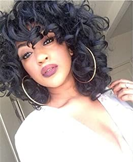 ELIM Short Curly Wigs for Black Women Fluffy Wavy Black Synthetic Hair Wig Natural Looking Wigs Heat Resistant Wigs with W...