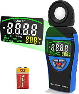 Digital Light Meters AP-8801A Lumen Meter for Plants with 0.1~400,000 Lux Colorful Screen Light Meter Photography Meter with Temperature, Data Hold, Max/Min, Data Storage, Lux/FC Units