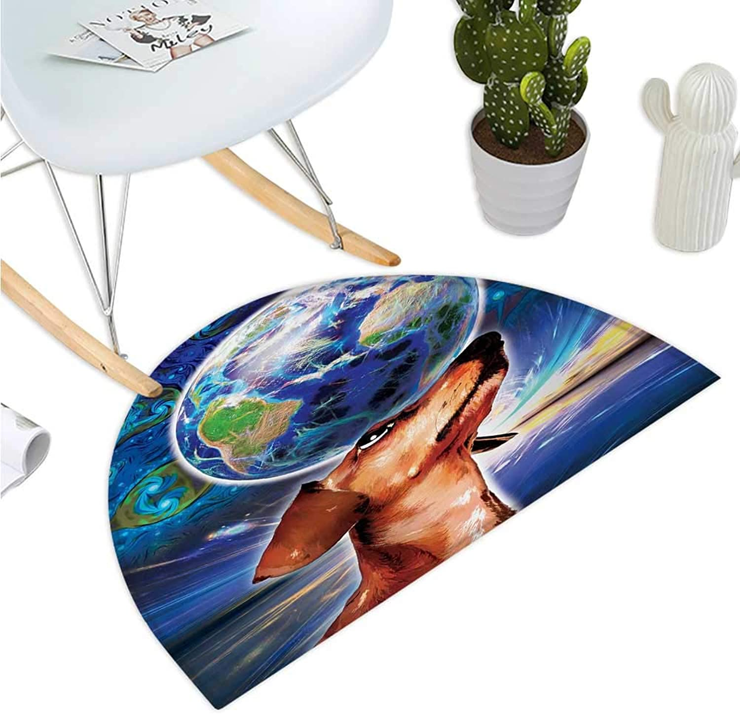 Animal Semicircular Cushion Cute Adorable Dog Holding Earth on his Head Nose with Paisley Like Design Backdrop Bathroom Mat H 35.4  xD 53.1  Multicolor