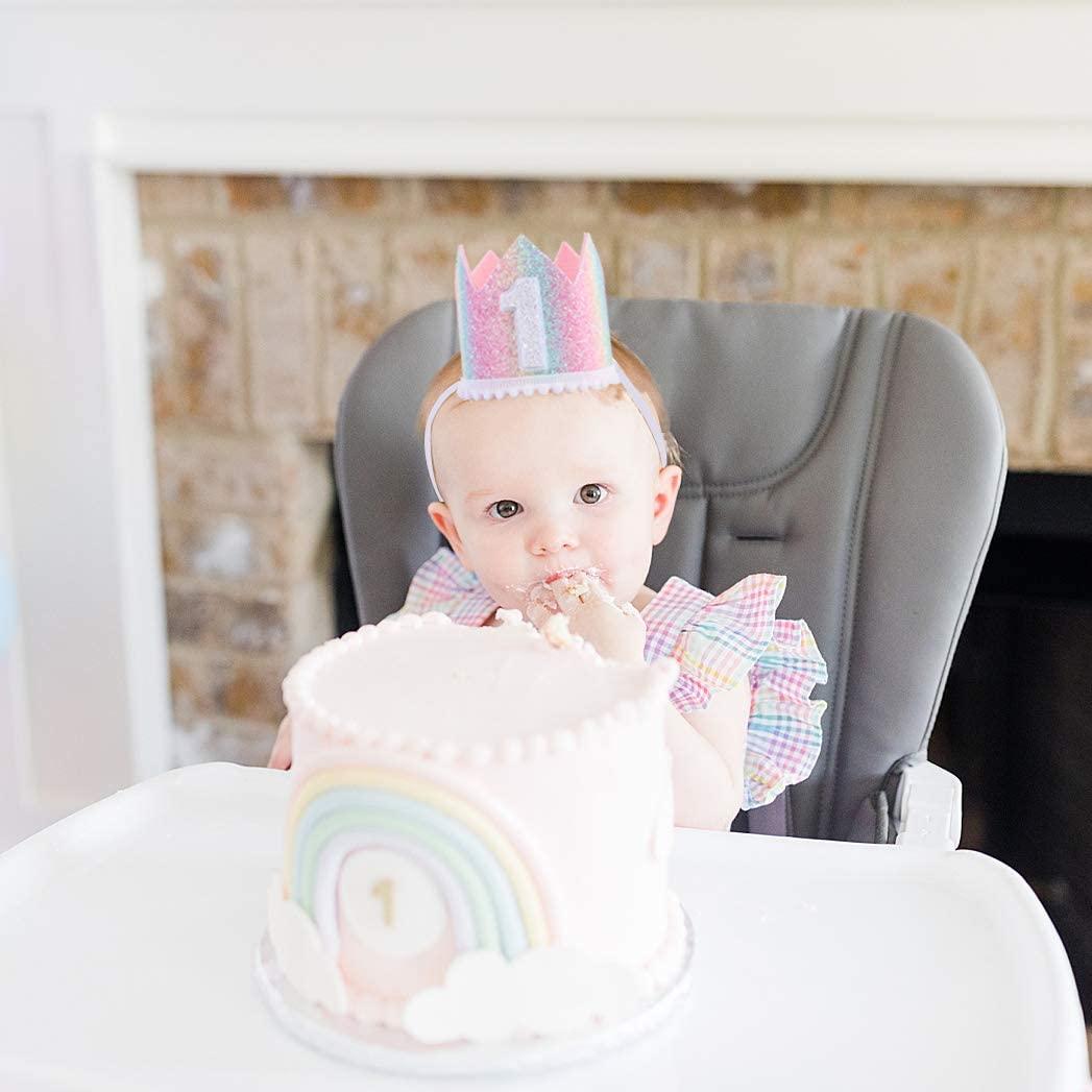 Pastel Rainbow hat Baby 1st Birthday Rainbow hat Baby Birthday Photo Props First Birthday Crown hat Mini Rainbow Crown Party Decorations