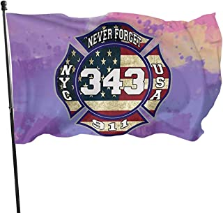 MAQA 911 343 Fallen Firefighters Remembrance Flag: 3x5 FT Flag Tough The Strongest, Longest Lasting Flag National Flag Outdoor Flags