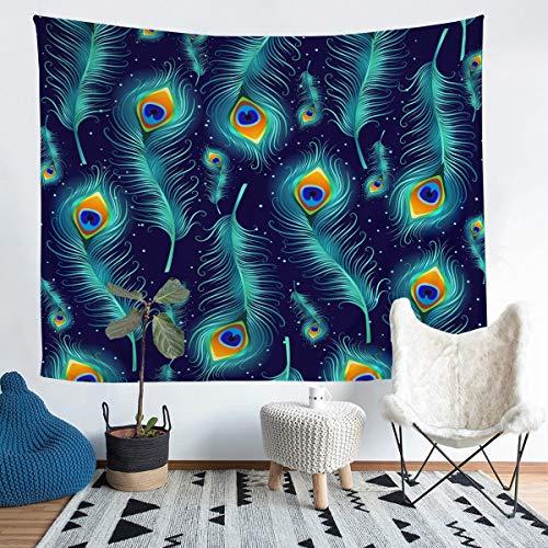 Loussiesd Tapiz de impresión de plumas para niñas, niños, adolescentes, estilo bohemio, para colgar en la pared, con plumas de pavo real, elemento de pared, manta decorativa de cama, 152 x 201