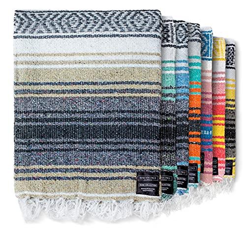 Authentische mexikanische Decke – Picknickdecke, handgewebte Serape-Decke, perfekt als Stranddecke, Picknickdecke, Outdoor-Decke, Yoga-Decke, Campingdecke, Autodecke, gewebte Decke (Sand)