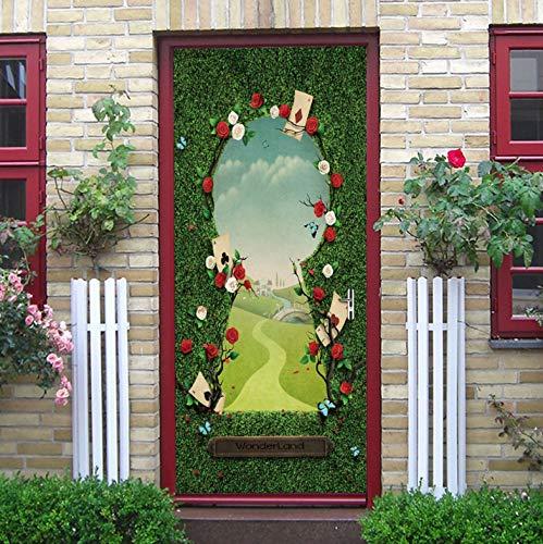 Wunderland Eingang Kunstrasen Wand Grün Gekleidete Tür Aufkleber Raum Dekoratives Zubehör Selbstklebendes Wasserdichtes Wandbild 77X200Cm