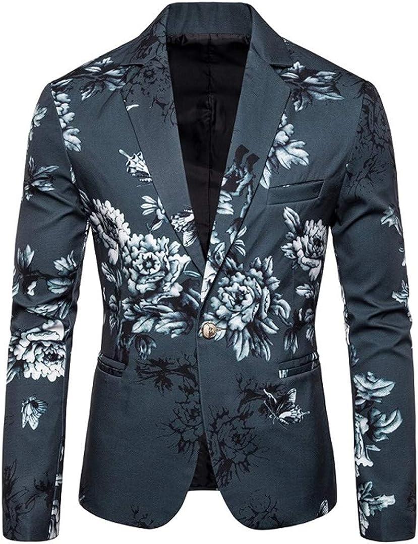 Mens Suit Jacket Blazers Single Button Blazer Flower Designs Slim Fit Blaizer