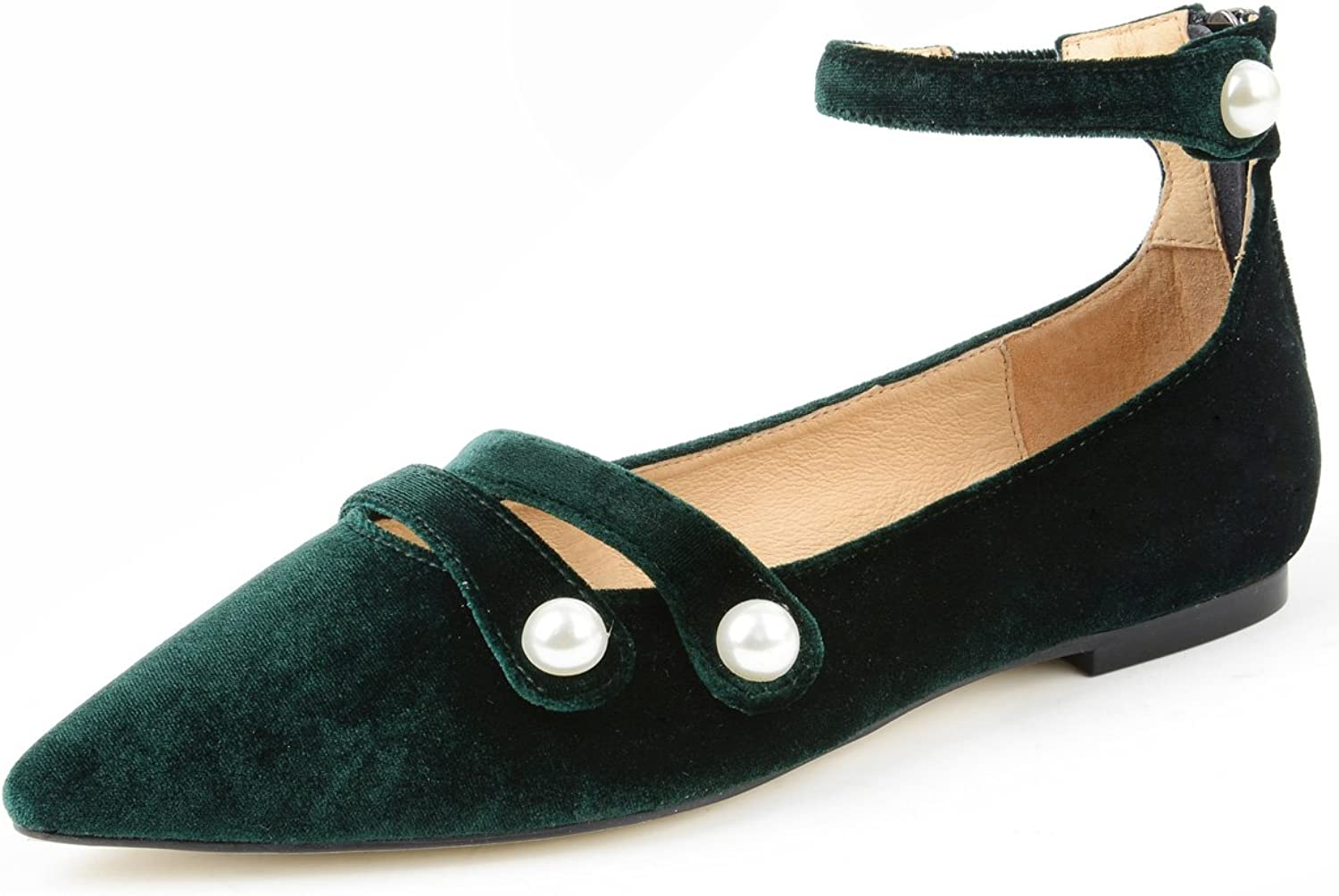 Yonge & Finch Women Green Velvet Faux Pearl Lace-up Mary Jane Pointed Toe Flats