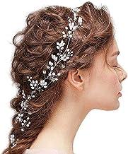 Accesorios para el Cabello de Novia/Dama de Honor Diadema de Perlas con Cristal de Diamantes de Imitación, Diadema para Mujeres Niñas Trenza Ideal Tiara Accesorio para el Cabello de Baile