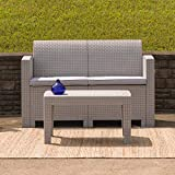 Flash Furniture Light Gray Faux Rattan Loveseat with All-Weather Light Grey...