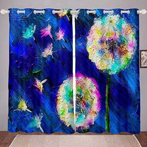 Cortinas de ventana de diente de león con estampado floral para niños, niñas, niños, graffiti ventana, Dreapes, decoración ultra suave, tratamientos de ventana azul profundo W46*L72