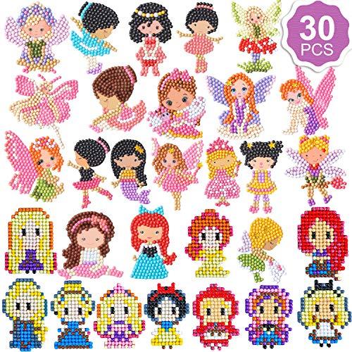 Qpout 30 Piezas Pegatinas de Pintura de Diamantes para niños, Princesa Hada Bailarina niñas 5D Pegatinas de Mosaico de Diamantes Pintura por número de Diamantes para niños cumpleaños