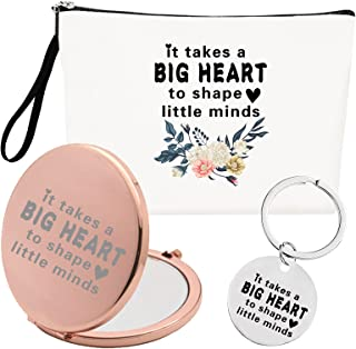 Dgasin It Takes A Big Heart Pocket Compact Makeup Mirror, Cosmetic Makeup Bag and Keychain Gift Kit for Her, Friend, Mom, ...