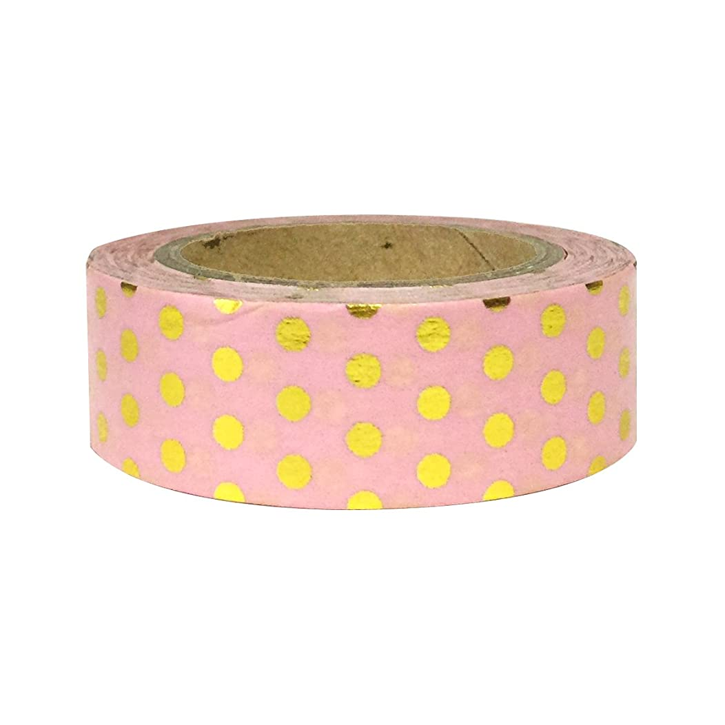 Wrapables Colorful Washi Masking Tape, Gold Dots on Pink,