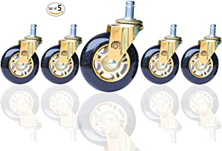 LPHY Office Chair Caster Wheels Heavy Duty and Safe for Hardwood Floor Mat 3 Inch Furniture casters Replacement for Carpeted Floors Without Brake Rubber Caster Wheels Black and Gold (Set of 5)