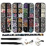(4 boîtes) Kit Strass Nail Art Kit Strass Ongles 2 Pince à épiler 1Pc Strass Picker Crayon, Cloutés Multicolores Strass en œil de Cheval pour Fournitures de Décorations d'ongle, Téléphone Portable