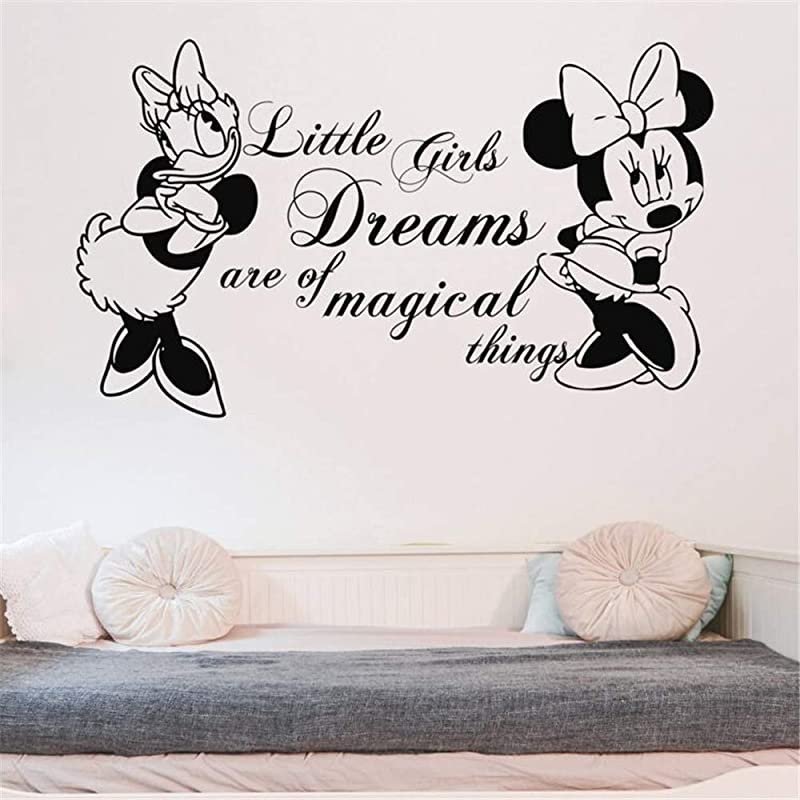 Tioua Mickey Mouse Wall Sticker Decal Nursery Decor Minnie Mouse And Daisy Decal Kid Room Quotes Wall Sticker Vinyl Minnie Mouse Wall