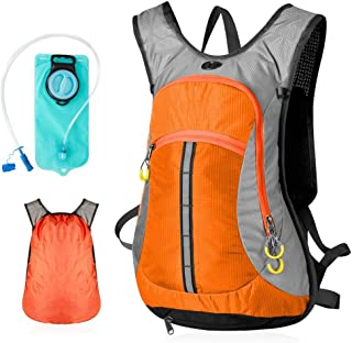 SHYPwM Men and Women Lightweight Waterproof Backpack Outdoor Large Capacity Leisure Hiking Travel Daypack Mountaineering Bag(15L) (Color : Orange)