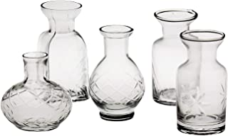 """ART & ARTIFACT Set of 5 Petite Glass Bud Vases in Clear or Jewel Tones- Fun Shapes, 2 3/4""""-3 3/4"""" H - Clear"""