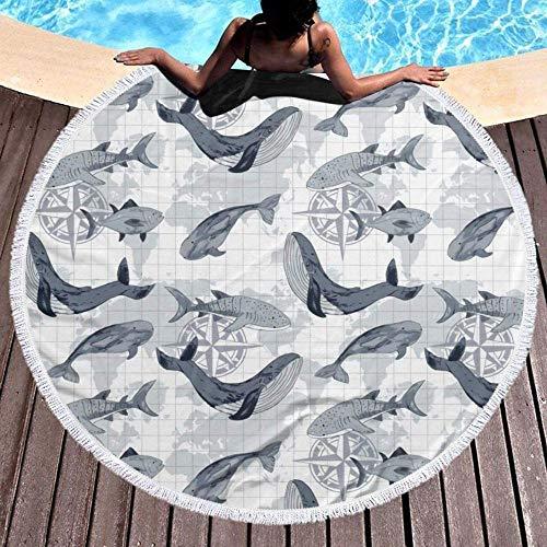 Toalla De Playa Redonda Animales del Océano En Peligro De Extinción Gran Borla Tapiz De Playa Mantel De Algodón Hippie Toalla Blanca Forrada Mantón Alfombra Bufanda Manta De Picnic