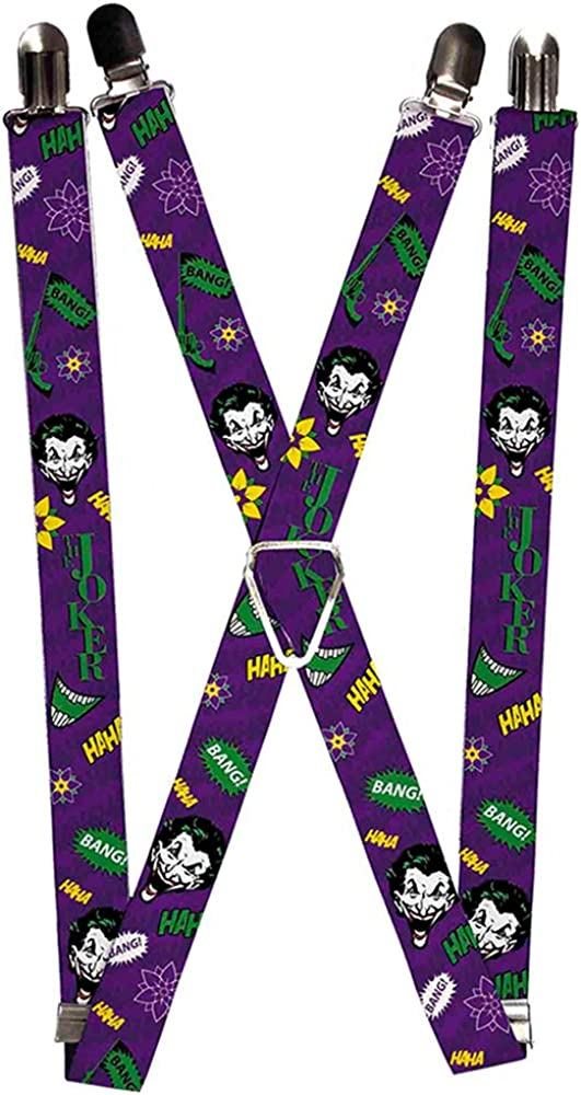 Buckle-Down Suspenders-The Joker Face/Elements Collage Purple/Green/ye