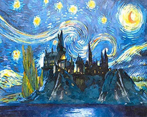DIY Malen nach Zahlen für Erwachsene Junior Kinder, ABEUTY Schloss unter den Sternen 40x50cm Weihnachten Valentinstag Geschenk