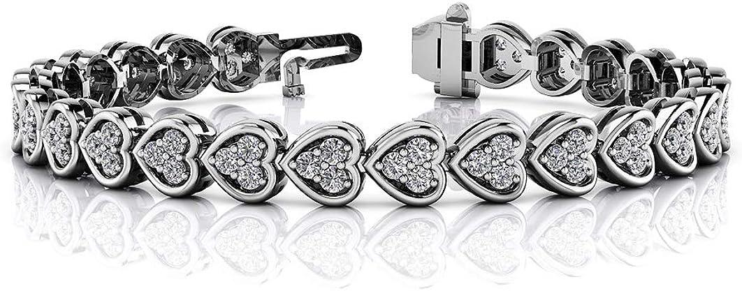 SLV 14K Gold Plated Popular brand 925 Silver Love Heart Finally resale start With 3-Stone Bracelet