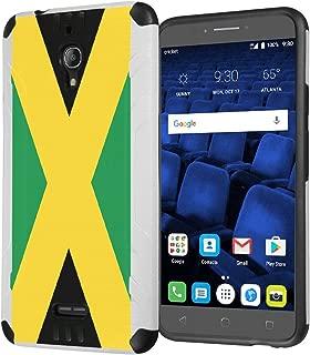 Alcatel PIXI THEATRE Case, Capsule-Case Hybrid Dual Layer Silm Defender Armor Combat Case (White & Black) Brush Texture Finishing for Cricket Alcatel PIXI-THEATRE DALN5004 - (Jamaica Flag)