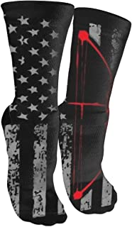 MuCunTuaZa Retro Archery Bow Hunting US Flag Compression Socks Knee High Socks for Women & Men - Best Sports, Nursing, Travel & Flight Socks