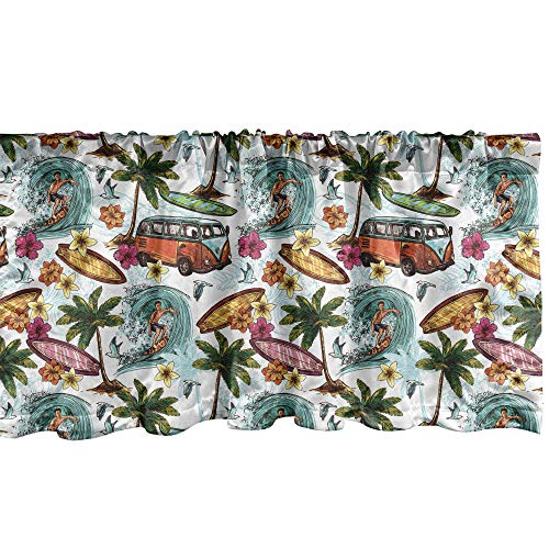 """Ambesonne Ocean Window Valance, Hawaiian Surfer on Wavy Deep Sea Retro Style Palm Trees Flowers Surf Boards Print, Curtain Valance for Kitchen Bedroom Decor with Rod Pocket, 54"""" X 12"""", White Teal"""