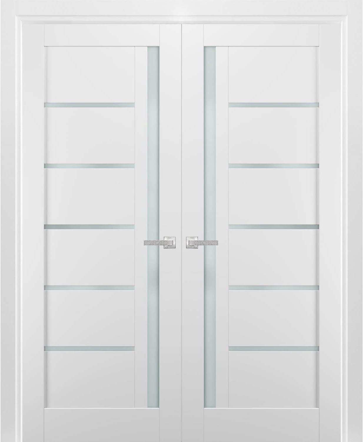 French Double Panel Lite Doors 48 X 96 With Hardware Quadro 4088 White Silk With Frosted Opaque Glass Pre Hung Panel Frame Trims Bathroom Bedroom Interior Sturdy Door Amazon Ca Tools Home Improvement
