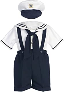 Classykidzshop Navy Sailor Boy Shirt, Shorts, Tie and Hat (Baby)