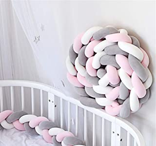 Sängram babysäng 3 vävd baby flätad stötfångare bo kantskydd huvudskydd barnsäng dekoration 200 cm/300 cm