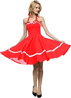Women's 1950s Halter Vintage Rockabilly Dress