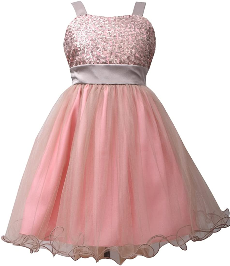 Bonnie Jean Little Girls Pink Sequin to Tulle Dress 6X