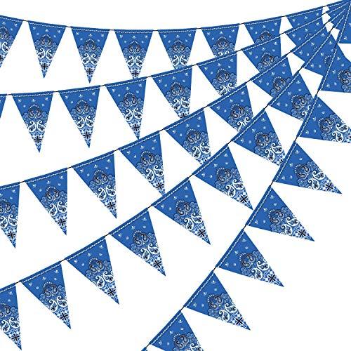 5 Paquete Bandera de Bandana, Accesorio de Fiesta del Salvaje Oeste para Decoración Temática de Fiesta del Vaquero Occidental, 7.4 x 10.8 Pulgada (Azul)