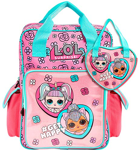 L.O.L. Surprise! School Bag and Handbag for Girls, School Supplies for Children, Official Backpack with LOL Dolls Unicorn and Kitty Queen, Pink Rucksack for School Travel, Gifts for Girls