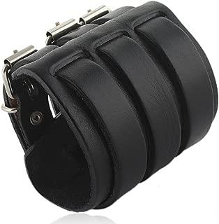 3 Layer Wide Belt Genuine Leather Men Wristband Bracelet Unisex Couple