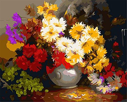 CaptainCrafts Nouvelle Peinture par num/éros 16x20 pour Les Adultes Enfants Toile sans Cadre Cent Mille Jiao Mei de Belles Fleurs Jaunes
