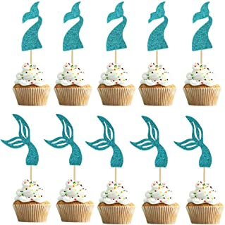 Coxeer 40PCS Cake Topper Decorative Mermaid Cake Topper Party Cake Pick for kids
