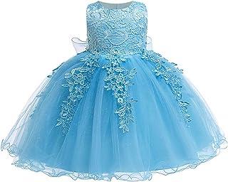 LZH Bambin Anniversaire Robe De Bébé Fille Bowknot Mariage Tutu Princesse Robe en Dentelle de Fleurs(5801-Blue,100)