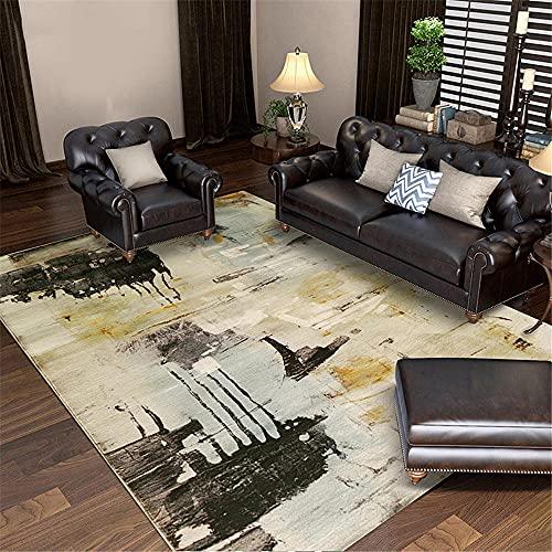 Xiaosua Alfombra Esparto Gris Alfombra de salón Gris Abstracto desordenado Alfombra Estampado antipetes alfombras niños 160X230CM Alfombra Juegos 5ft 3''X7ft 6.6''