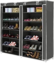 Inditradition 6x2 Layer Foldable Shoe Rack, Double Cabinet Shoe Wardrobe with Cover | for 40 Shoe Pairs, 4 Feet (Grey)