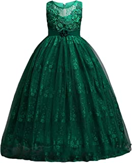 HUAANIUE Girl Pageant Wedding Dress Tulle Flower Girl Ball Gown