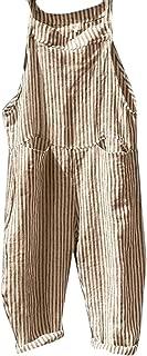 FSSE Women's Casual Stripe Print Overalls Linen Loose Fit Jumpsuit Romper