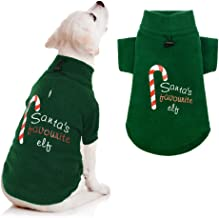 Christmas Dog Fleece Vest Xmas Dog Hoodie Elves Sweater Winter Clothes for Small Medium Dogs Puppy
